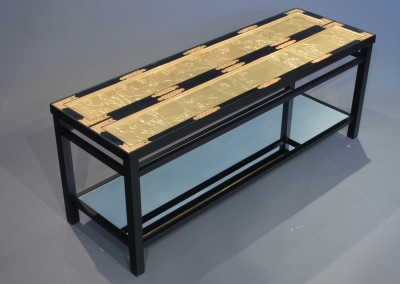 Gold Butsudon Door Coffee Table with Mirrror Shelf