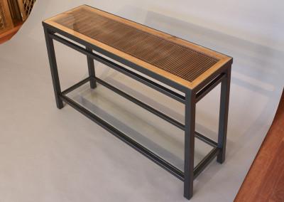 Kumiko Ranma Console Table with Glass Shelf